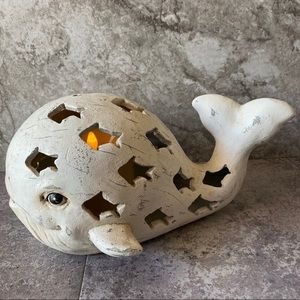 Whale Faux Candle Night Light Nautical Flicker